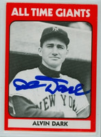 Al Dark AUTOGRAPH d.14 TCMA All-Time Giants Giants 