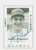 Johnny Klippstein AUTOGRAPH d.03 1979 TCMA Diamond Greats Cubs 