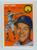Don Lund AUTOGRAPH d.13 Topps 1954 Archives #167 Tigers 