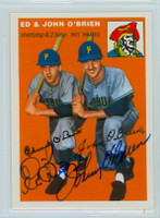 Ed O' Brien DUAL SIGNED d.13 Topps 1954 Archives #139 Pirates 