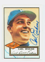 Carl Erskine AUTOGRAPH 1952 Topps 1983 Reprint Dodgers 