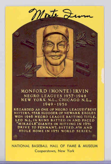 hall of fame plaque gold monte irvin autograph giants sku. Black Bedroom Furniture Sets. Home Design Ideas