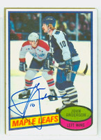 John Anderson AUTOGRAPH 1980-81 Topps Maple Leafs 