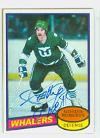 Gordie Roberts AUTOGRAPH 1980-81 Topps Whalers 