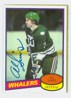 Al Sims AUTOGRAPH 1980-81 Topps Whalers 