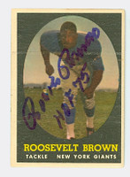 Roosevelt Brown AUTOGRAPH d.04 1958 Topps Football Giants 