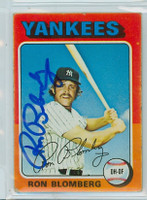 Ron Blomberg AUTOGRAPH 1975 Topps #68 Yankees 