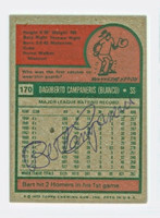 Bert Campaneris AUTOGRAPH 1975 Topps Mini #170 Athletics BACK SIGNED