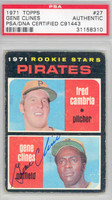 Gene Clines AUTOGRAPH 1971 Topps #27 Pirates PSA/DNA 