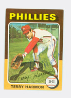 Terry Harmon AUTOGRAPH 1975 Topps Mini #399 Phillies 