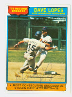 Dave Lopes AUTOGRAPH HL 1976 Topps #4 Dodgers HR Leader 