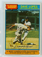 Dave Lopes AUTOGRAPH 1976 Topps #4 Dodgers HR Leader 