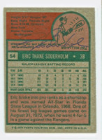 Eric Soderholm AUTOGRAPH 1975 Topps #54 Twins BACK SIGNED