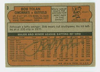 Bob Tolan AUTOGRAPH 1972 Topps #3 Reds BACK SIGNED