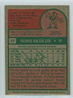 Richie Zisk AUTOGRAPH 1975 Topps #77 Pirates BACK SIGNED