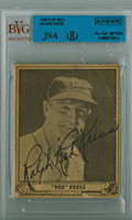 Red Kress AUTOGRAPH d.62 1940 Play Ball #45 Tigers - Card has 2 large Creases JSA/BVG 