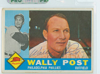 Wally Post AUTOGRAPH d.82 1960 Topps #13 Phillies 