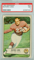 1954 Bowman Football 43 Buford Long New York Giants PSA 7 Near Mint