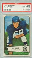 1954 Bowman Football 62 Bill Lange Baltimore Colts PSA 8 Near Mint to Mint