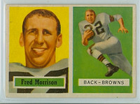 1957 Topps Football 154 Fred Morrison Single Print Cleveland Browns Excellent to Mint