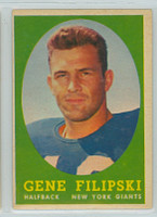 1958 Topps Football 1 Gene Filipski ROOKIE New York Giants Very Good to Excellent