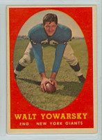 1958 Topps Football 101 Walt Yowarsky New York Giants Very Good to Excellent