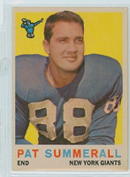 1959 Topps Football 41 Pat Summerall New York Giants Excellent