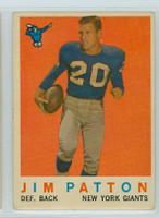 1959 Topps Football 87 Jim Patton New York Giants Very Good to Excellent