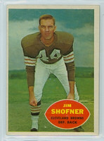 1960 Topps Football 29 Jim Shofner ROOKIE Cleveland Browns Excellent to Excellent Plus