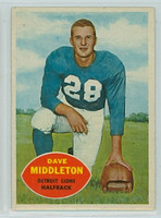 1960 Topps Football 43 Dave Middleton Detroit Lions Very Good to Excellent