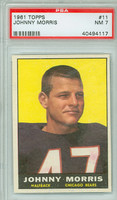 1961 Topps Football 11 Johnny Morris ROOKIE Chicago Bears PSA 7 Near Mint
