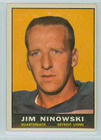 1961 Topps Football 29 Jim Ninowski Detroit Lions Excellent to Excellent Plus