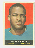 1961 Topps Football 30 Dan Lewis ROOKIE Detroit Lions Very Good to Excellent