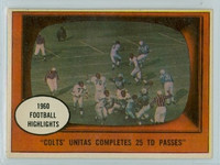1961 Topps Football 57 Unitas TD Passes Baltimore Colts Excellent to Mint