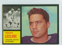 1962 Topps Football 19 Roger LeClerc Chicago Bears Excellent to Mint
