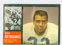 1962 Topps Football 52 Nick Pietrosante Single Print Detroit Lions Very Good to Excellent