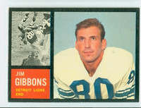 1962 Topps Football 54 Jim Gibbons Detroit Lions Excellent to Mint