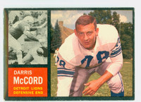 1962 Topps Football 57 Darris McCord Detroit Lions Excellent