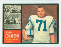 1962 Topps Football 61 John Lomakoski Single Print Detroit Lions Excellent to Excellent Plus