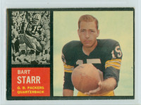 1962 Topps Football 63 Bart Starr Single Print Green Bay Packers Excellent to Excellent Plus