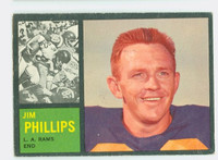 1962 Topps Football 81 Jim Phillips Los Angeles Rams Very Good to Excellent