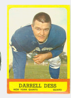1963 Topps Football 54 Darrell Dess Single Print New York Giants Very Good