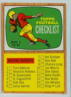 1966 Topps Football 61 Checklist One Excellent