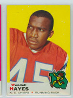 1969 Topps Football 58 Wendell Hayes Kansas City Chiefs Excellent to Mint