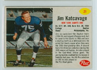 1962 Post Football 21 Jim Katcavage New York Giants Excellent