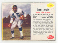 1962 Post Football 53 Dan Lewis Detroit Lions Excellent