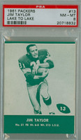 1961 Lake To Lake Packers 13 Jim Taylor Green Bay Packers PSA 8 Near Mint to Mint