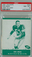 1961 Lake To Lake Packers 25 Ken Iman Green Bay Packers PSA 8 Near Mint to Mint