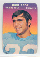 1970 Glossy Football 33 Dick Post San Diego Chargers Excellent to Mint