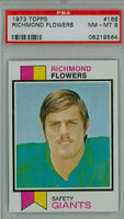 1973 Topps Football 166 Richmond Flowers New York Giants PSA 8 Near Mint to Mint